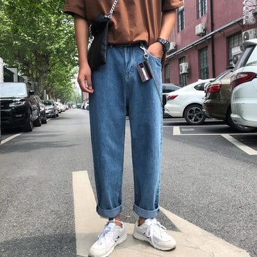 Korean version of the trend straight jeans