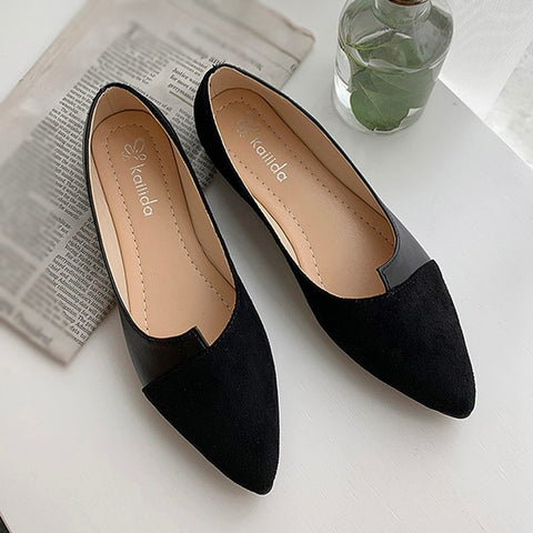 Splice Color Flats  Pointed Toe Ballerina Ballet Flat Slip On flats shoes