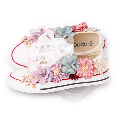 White Ribbon Strap Sew Colorful Flowers Pearl Diamond Ribbon Thick-soled Flat  Shoes & Sneakers