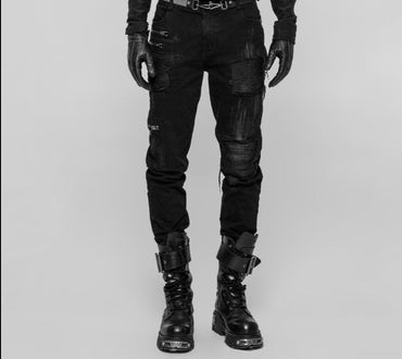 Punk Decadent Black Long Trousers Personality Hole Punk Rock  Pants