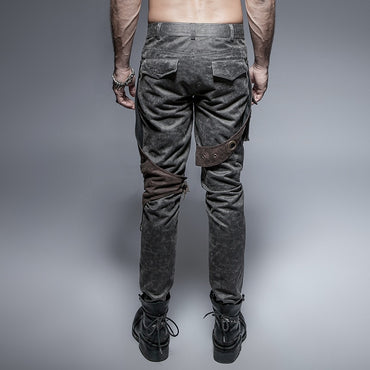 Style Rock Pocket Cool Personality Fashion Punk Gray coffee pants