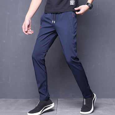 Skinny Stretch Korean Casual Slacks Slim Fit Chino Elastic Waist Jogger Dress Pants