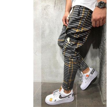 slim personality casual sports striped pants