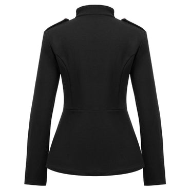 Casual Long Sleeve Stand Collar Buttons fit solid color elegant party office Jacket & Coats