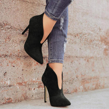 Flock Solid High Thin Heel Boots