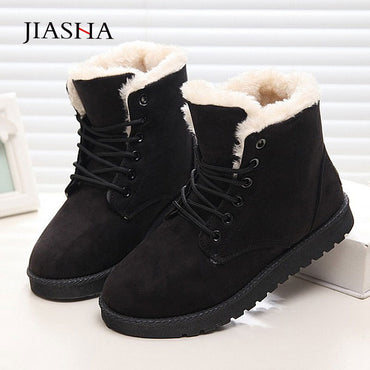 warm fur plush insole suede boots