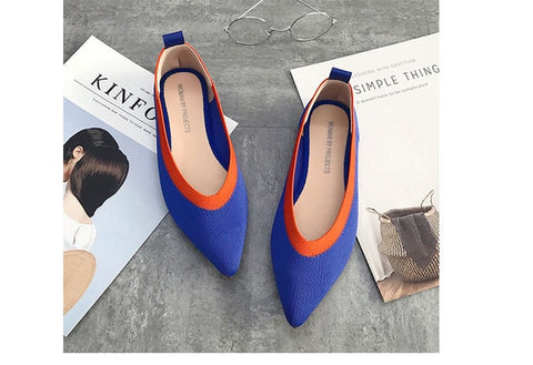 Flats Stretch Knitted Mixed Color Moccasins Breathable Cozy Work flats shoes