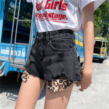 Leopard-print Hole Denim Shorts