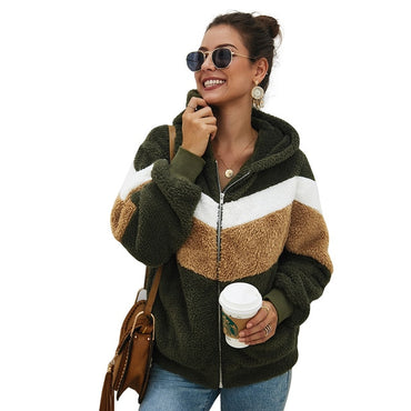 Striped Patchwork Jacket Long Sleeve Plush Outwear hoodies