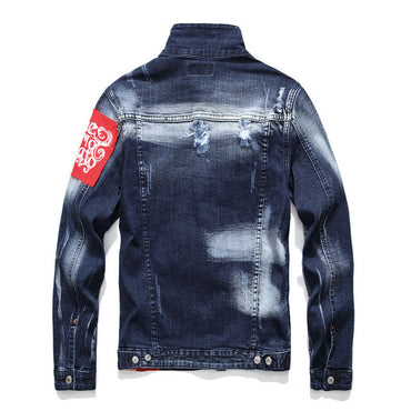Printed Ripped Elastic Denim Jackets