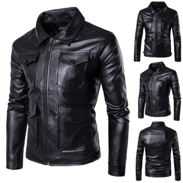 Zipper Pockets leather jacket Coats