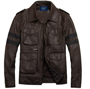 Casual Fine short leather fashion motorcycle biker handsome collar pocket color Jacket Coats