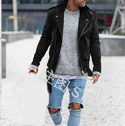 Stylish Streetwear Long sleeve Suede Fabric jacket coat