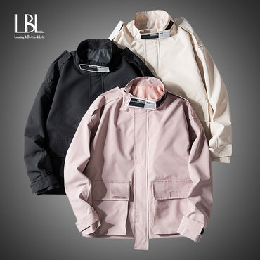 Casual Solid Zipper Bomber Jackets Coats