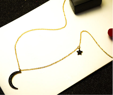 Black Moon Star Pendant Necklace