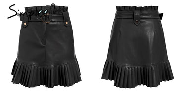 Ruffled high waist mini skirt