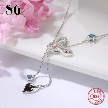 Long  tassel cute flower accessories sterling silver necklace