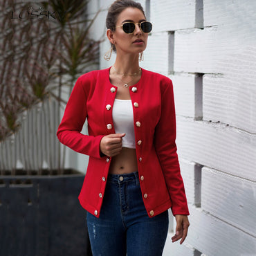 Long Sleeve Blouson Femme Casual Red Office Clothes Outfit Work Jacket & Coats