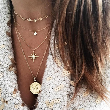 Multi-layer Star Human Coin Pendant Punk Statement Necklace
