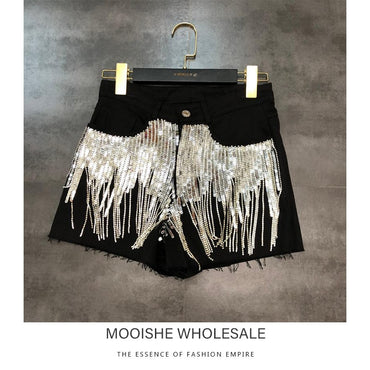 Sequined Tassels Graded Diamond Burrs Do Old Denim Shorts