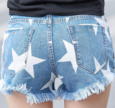 Five star shorts hole casual denim shorts