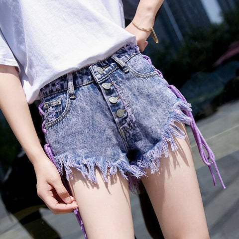 Sexy Hole Personality Tie Denim Shorts