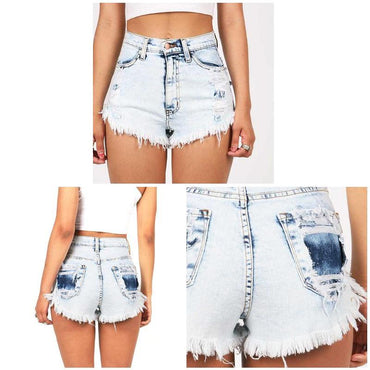 Pockets High Waist Vintage Tassel Ripped Casual Jeans Denim Short