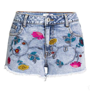 3D Embroidery  High Waist Denim Shorts