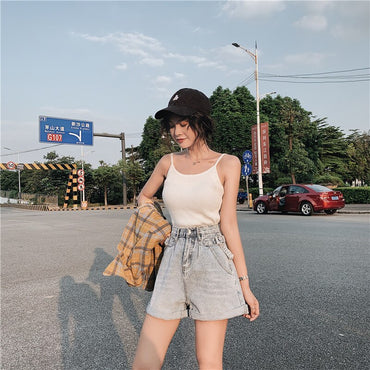 Wide Leg Crimping Denim Shorts