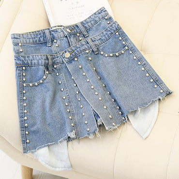 High Waist A-shaped Irregular Denim Shorts
