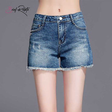 Vintage High Waist Cuffed Jeans Denim Shorts