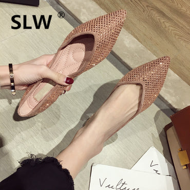 Basic Pointed Toe Lace-Up PU fashion Rubber 2019 Crystal Casual Shallow Slip-On Fabric  flat shoes