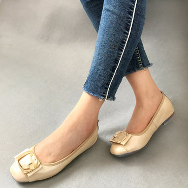 leather shallow mouth flat shoes
