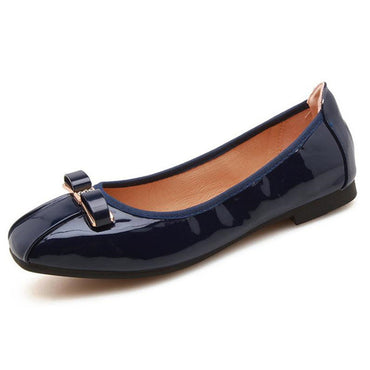 comfortable soft shoes without a buckle with a square toe flat shoes