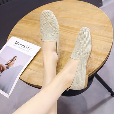 Stretch Knit Fabric Flats Shoes