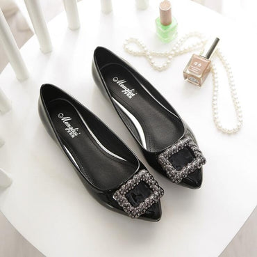 Pointed Tassel American Style Shallow Bling Sparkle Beads Crystal  Bride Wedding flat shoes