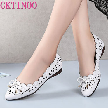 Breathable Genuine Leather flat shoes