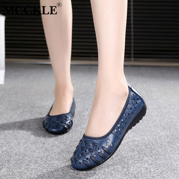 Hollow Out Slip On Loafers Platform Breathable flat shoes