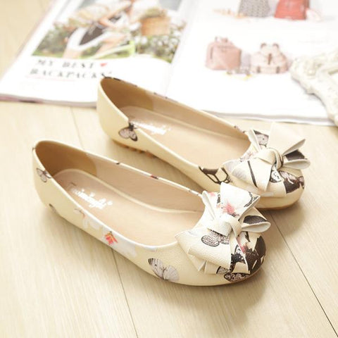 Round Toe Shallow Mouth Butterfly flat shoes