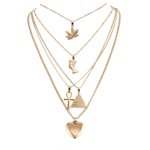 Leaf Triangle Heart Cross Necklace