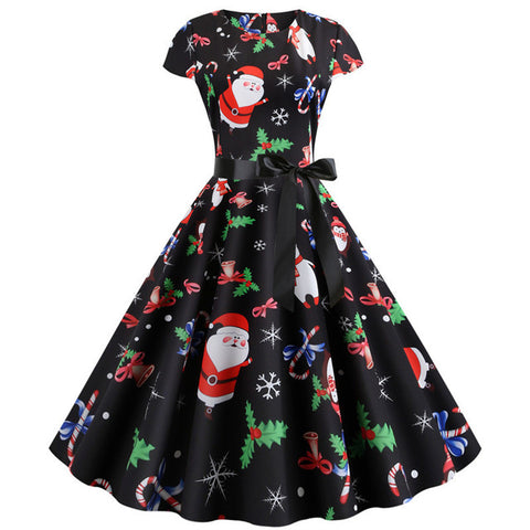 Retro Christmas Printed Dresses