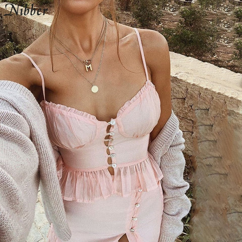 Elegant pink Ruffle lace up crop tops