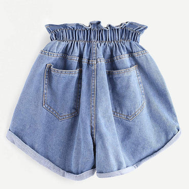 High Waist Elastic Waist Harem Ruffle Denim shorts