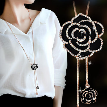 silver color chain imitated pearl jewelry  flowers maxi necklace