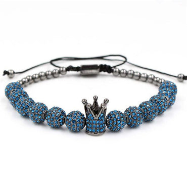 Exaggeration 12 Bit Blue Drill Hand String An Crown Weave Bracelet & bangle