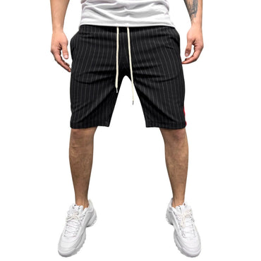 Joggers Striped Patchwork Pocket Drawstring Trouser Casual Loose Work Shorts