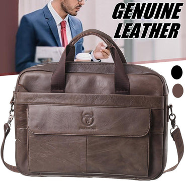 Genuine leather Briefcase vintage business computer handbag