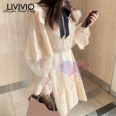 Floral Lace Stand Neck Bow Patchwork Sheer Mesh Polka Dots Lantern Long Sleeve Mini Dresses