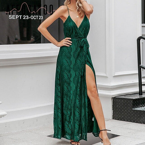 Sexy v-neck Elegant Office  green dress