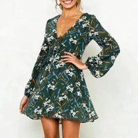 A-line v-neck floral print mini dress